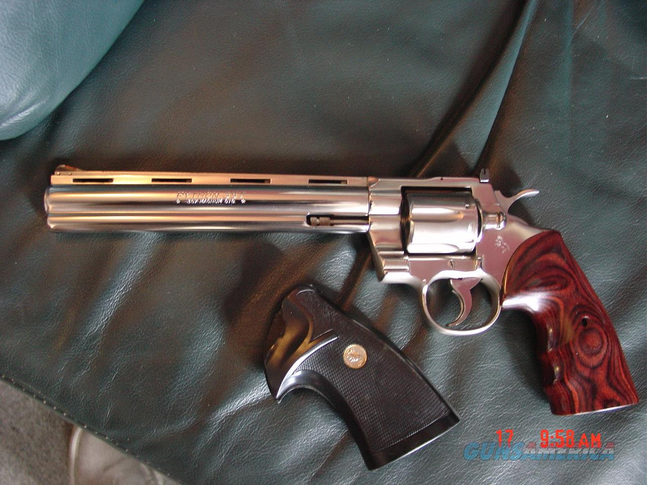 "Colt Python 8"" bright nickel, vented rib, 1980, with custom Rosewood grips & original grips, smooth action with light trigger !  Guns > Pistols > Colt Double Action Revolvers- Modern"