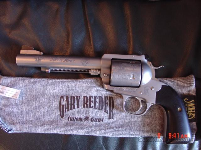 "Gary Reeder Custom African Hunter,475 Linbaugh,6"",Magnaported,7 engraved animals,Micarta grips,holster,dies,& 100 rounds of Hornady ammo-awesome hand cannon !!  Guns > Pistols > Custom Pistols > 1911 Family"