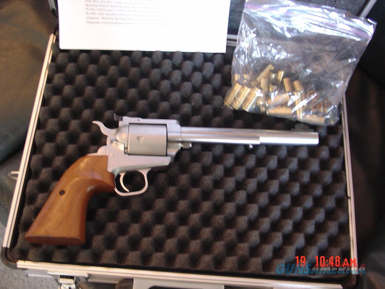 "North American Arms .450 Magnum Express,single action,very rare  hand cannon,7 1/2""barrel,satin stainless,wood grips,5 shots,never fired,heavy aluminum carry case,  Guns > Pistols > North American Arms Pistols"