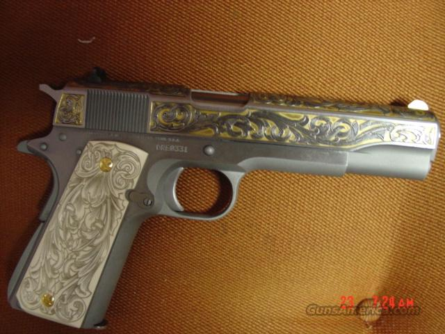 "Colt Government 1911,Series 70,45acp.5"",24K gold engraved,on satin stainless,custom grips,#331 of 400,to commemorate Dave Riccardo-more than a master engraver !!  Guns > Pistols > Colt Commemorative Pistols"