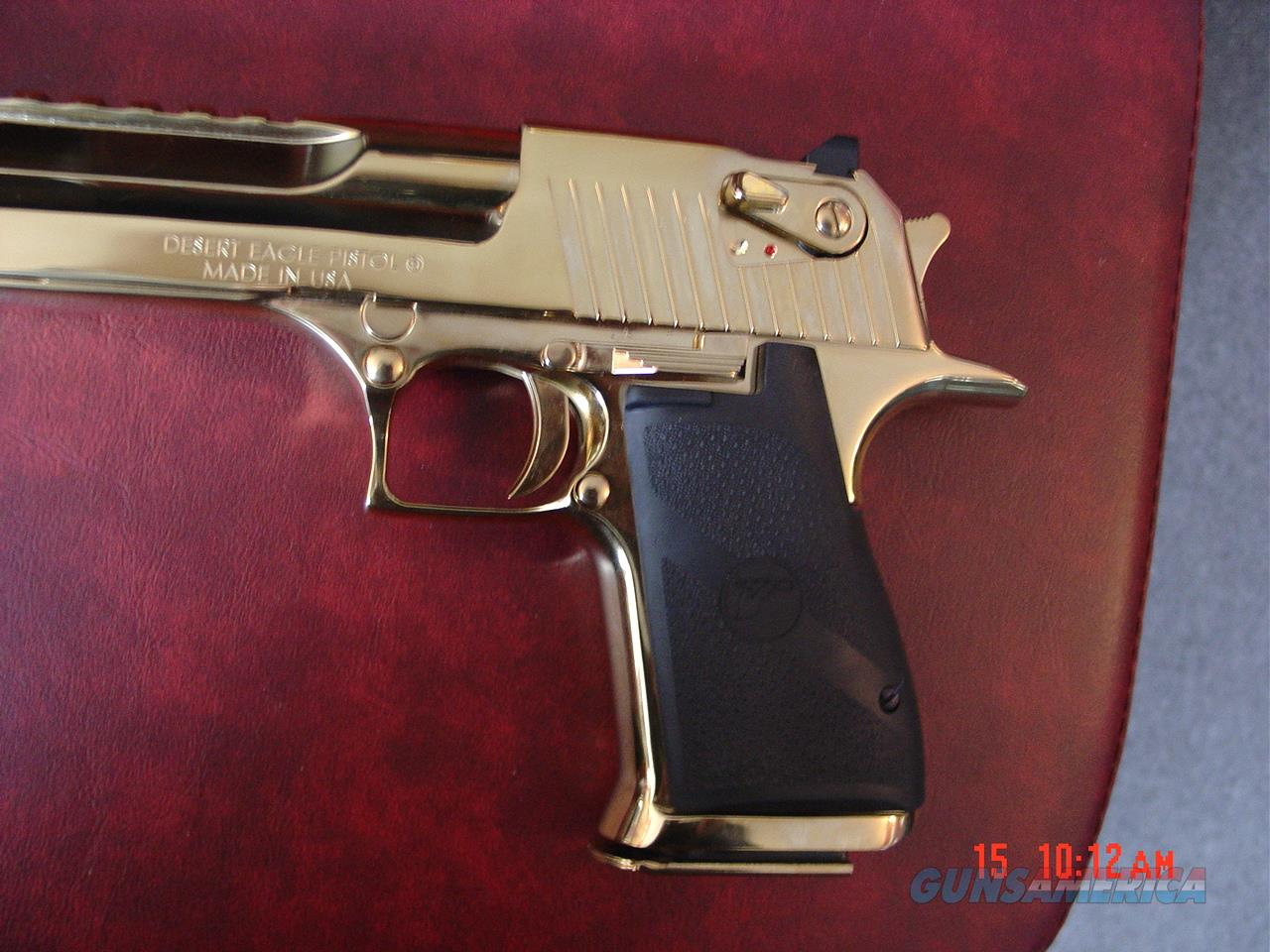"Magnum Research Desert Eagle,50AE,rare high gloss Titanium gold,top rail,an awesome showpiece hand cannon-6""  Guns > Pistols > Magnum Research Pistols"