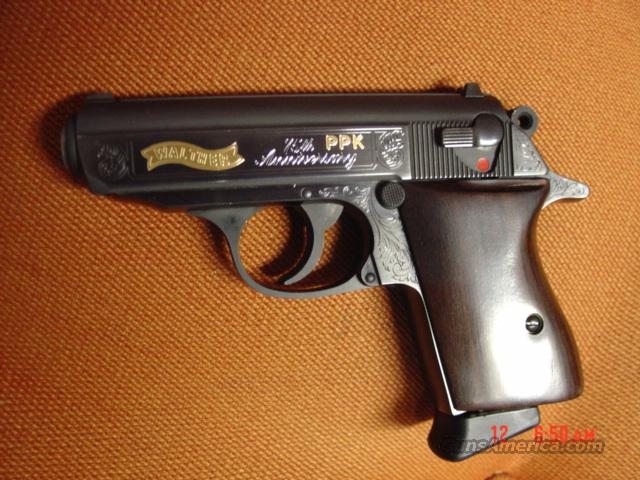 Walther PPK 75th Anniversary,scroll engraved with 24k gold accents,dark wood grips,stainless magazine,380 acp  Guns > Pistols > Walther Pistols > Post WWII > PPK Series