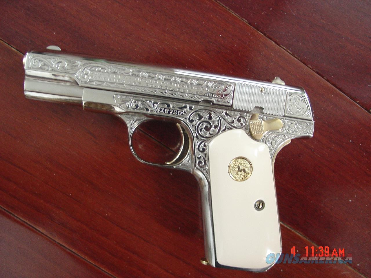 Colt 1903 32ACP,1923,Master engraved & refinished nickel,by S.Leis,bonded ivory,24K gold accents,certificate,awesome showpiece  Guns > Pistols > Colt Automatic Pistols (.25, .32, & .380 cal)
