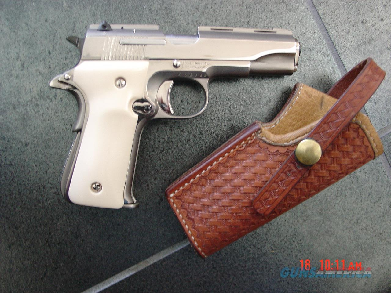 "Llama 380,3 1/2"" barrel, R1,mini 1911 style,made circa 1973,fully refinished in bright nickel,bonded ivory grips & leather holster,super nice !!  Guns > Pistols > Llama Pistols"