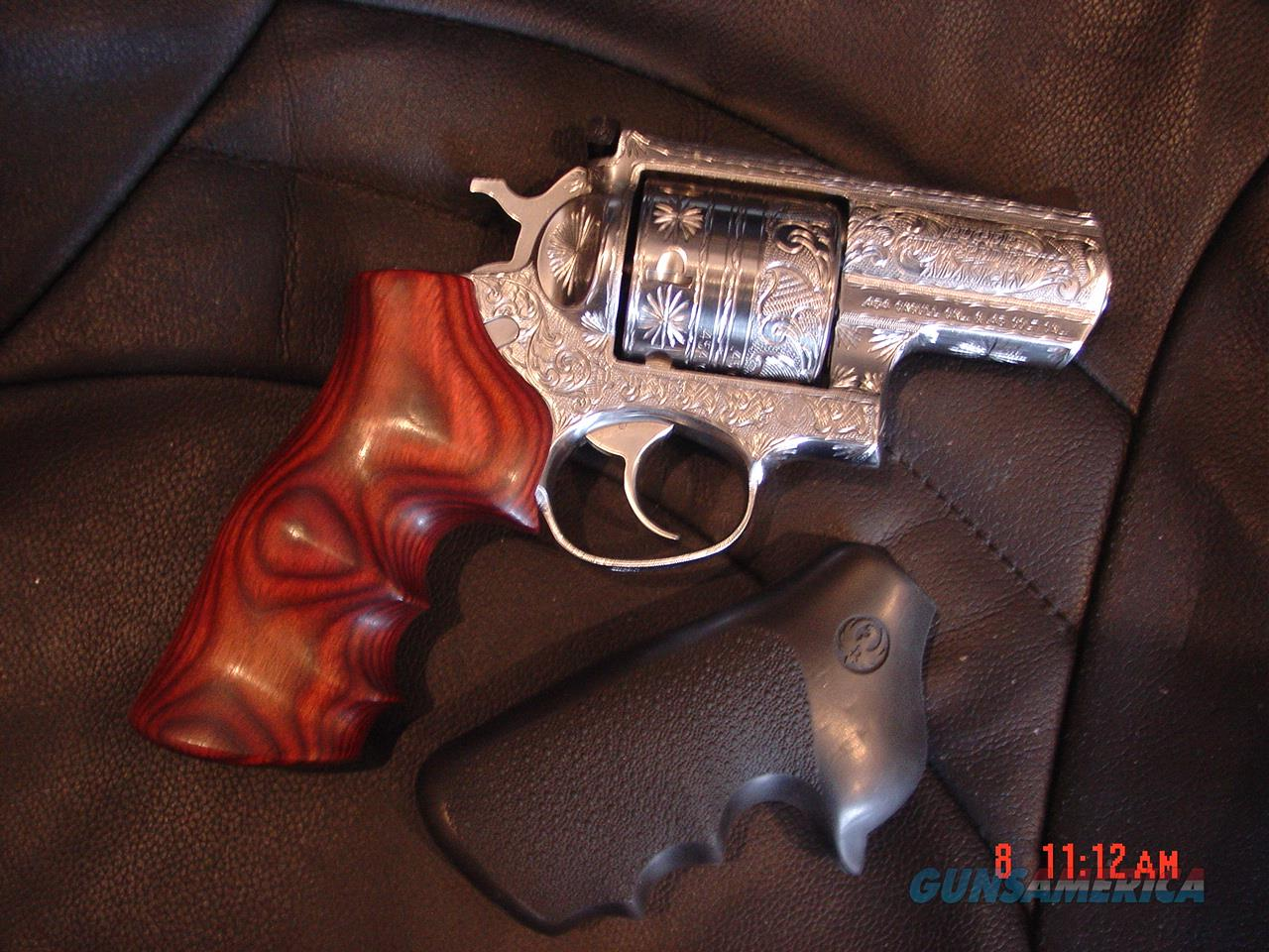"""Ruger Alaskan 454 Casull,2 1/2"""",Super Blackhawk,fully engraved & polished by Flannery Engraving,custom Rosewood grips. a 1 of a kind  awesome hand cannon !   Guns > Pistols > Ruger Double Action Revolver > Redhawk Type"""