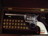 "Cimmaron EMF/ASM Italy,45 Colt,nickel,fully engraved,5 1/2"" barrel,solid ivory grips,in wood case,Cimmaron Model single action  Cimmaron Pistols"