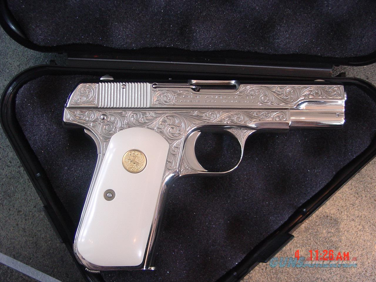 Colt 1908 380auto, master engraved & refinished nickel by S.Leis,bonded ivory grips,certificate,made 1925,a rare work of art-nicer in person-awesome !!  Guns > Pistols > Colt Automatic Pistols (.25, .32, & .380 cal)