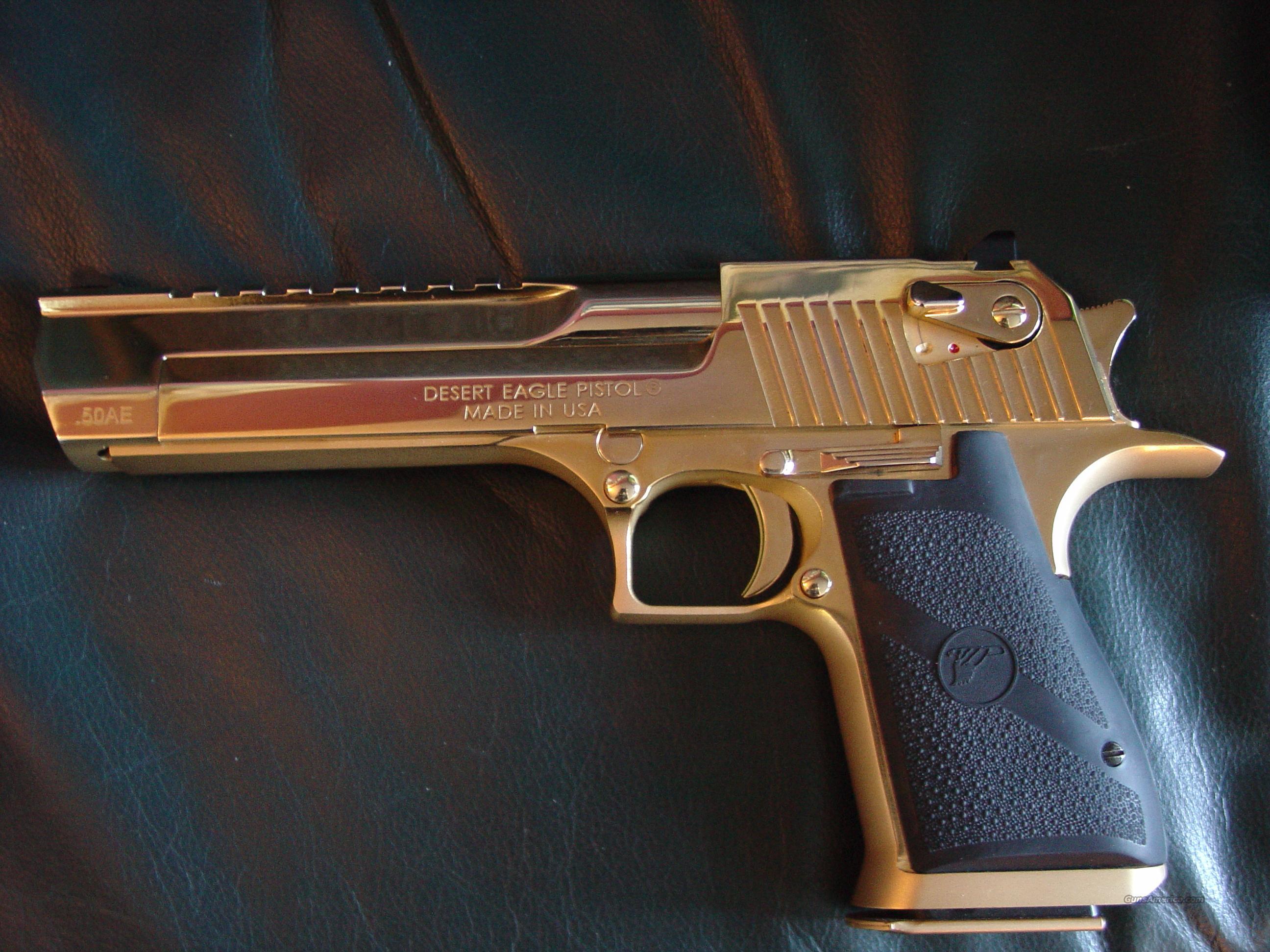 """Desert Eagle 50AE,6"""",24K Gold high gloss hand c... for sale"""