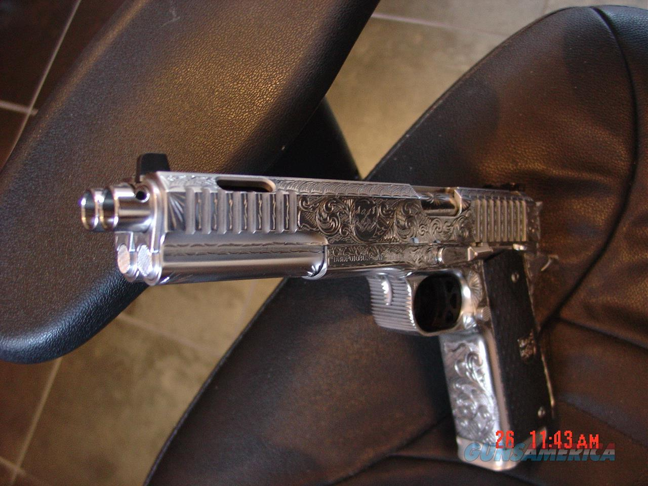 """Arsenal Firearms,Double barrel 45, Dueller Prismatic,fully engraved & polished by Flannery Engraving,6"""" barrel, ported,16 shots, made in Italy,super rare!! nicer in person !  Guns > Pistols > Custom Pistols > 1911 Family"""