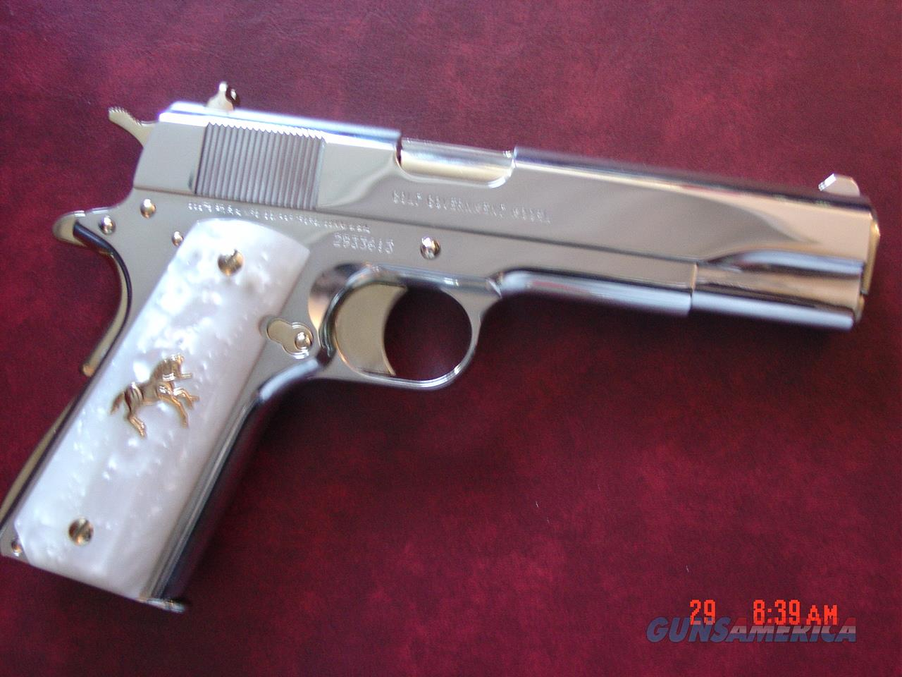 Colt Government 1911,38 Super,fully refinished in bright nickel with 24k gold accents, 2 magazines,pearlite grips,never fired,real showpiece  Guns > Pistols > Colt Automatic Pistols (1911 & Var)