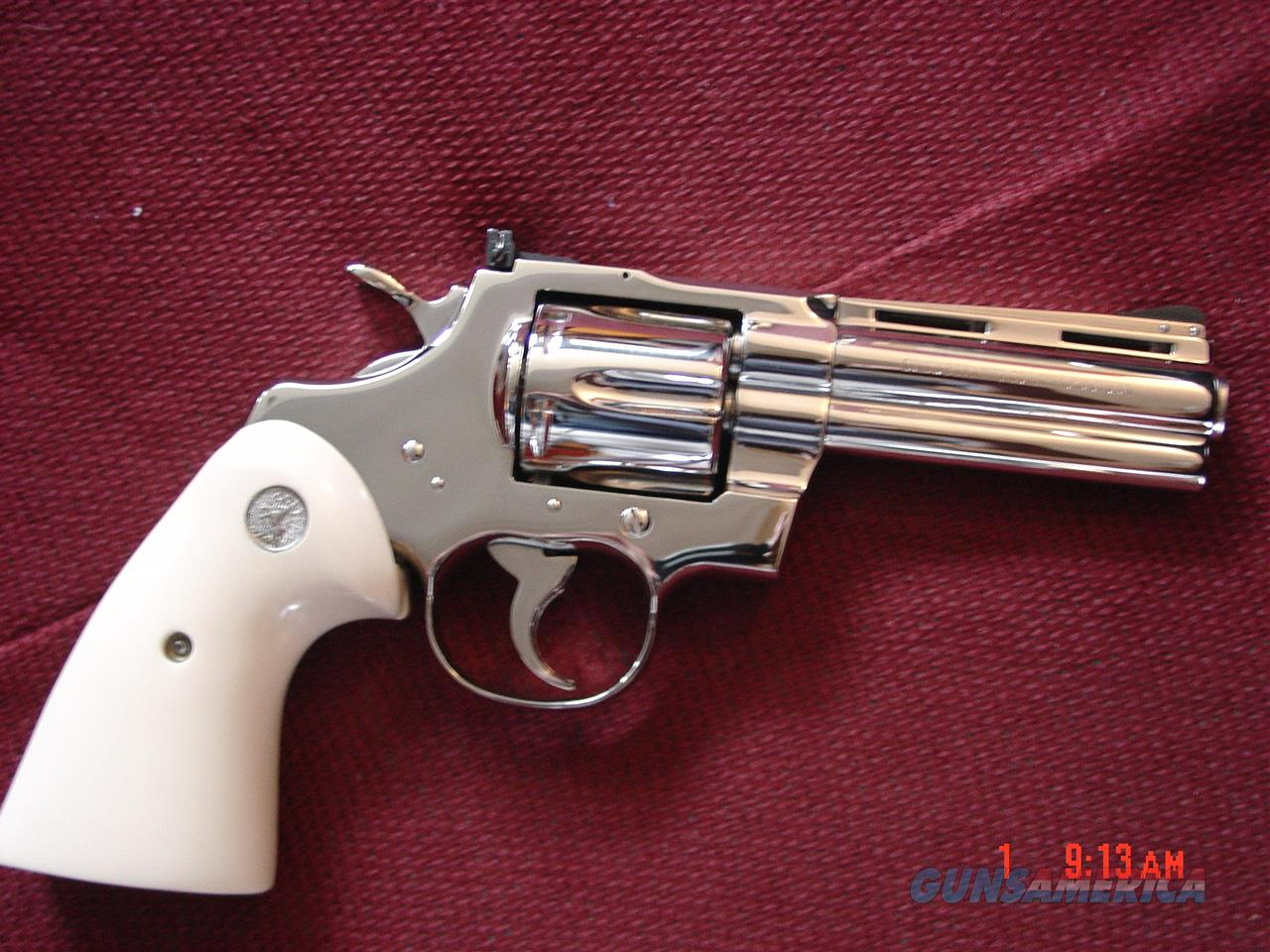 "Colt Python 4"" 1971,refinished in bright mirror nickel in Nov 2016,bonded ivory grips,357 magnum,a real showpiece !!  Guns > Pistols > Colt Double Action Revolvers- Modern"