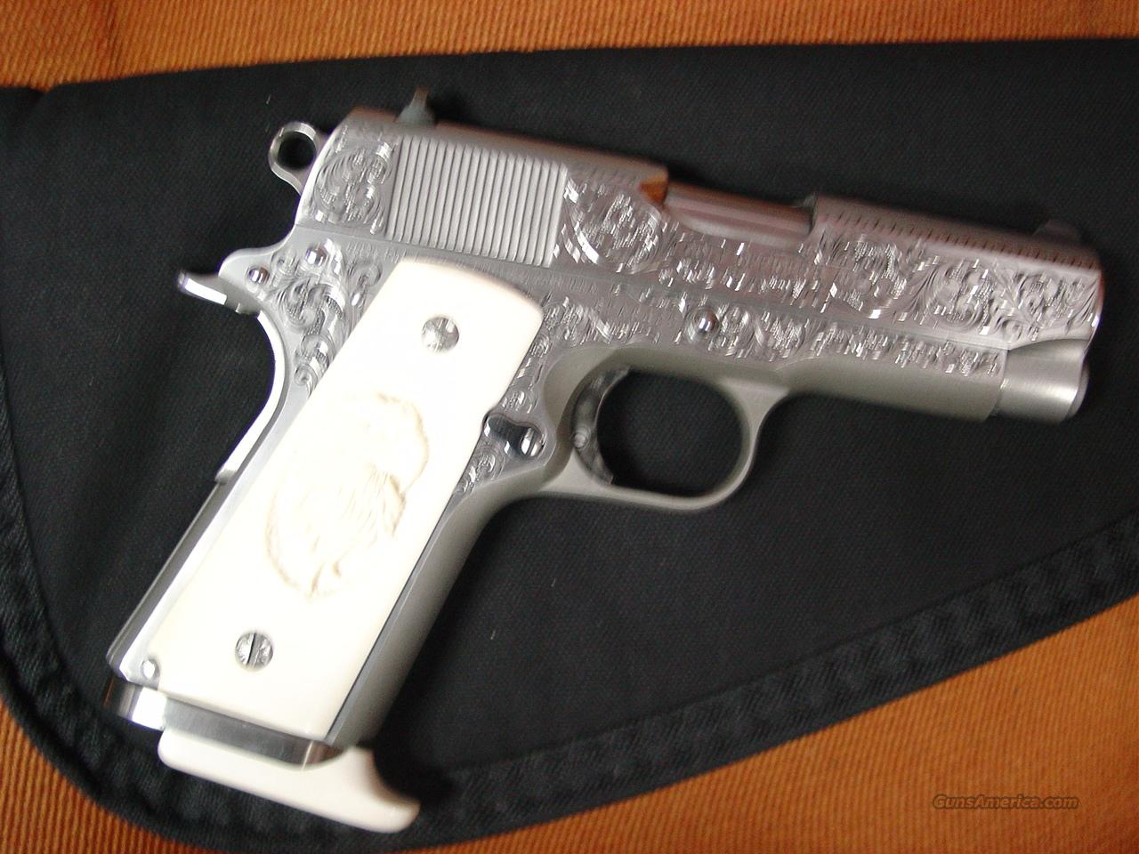 "Colt Officers ACP Mark IV Series 80,3 1/2"",Master deep hand scroll engraved,45 Auto,solid Ivory grips with carved eagle,custom ivory butt plate on Mag-signed-looks like new  Guns > Pistols > Colt Automatic Pistols (1911 & Var)"