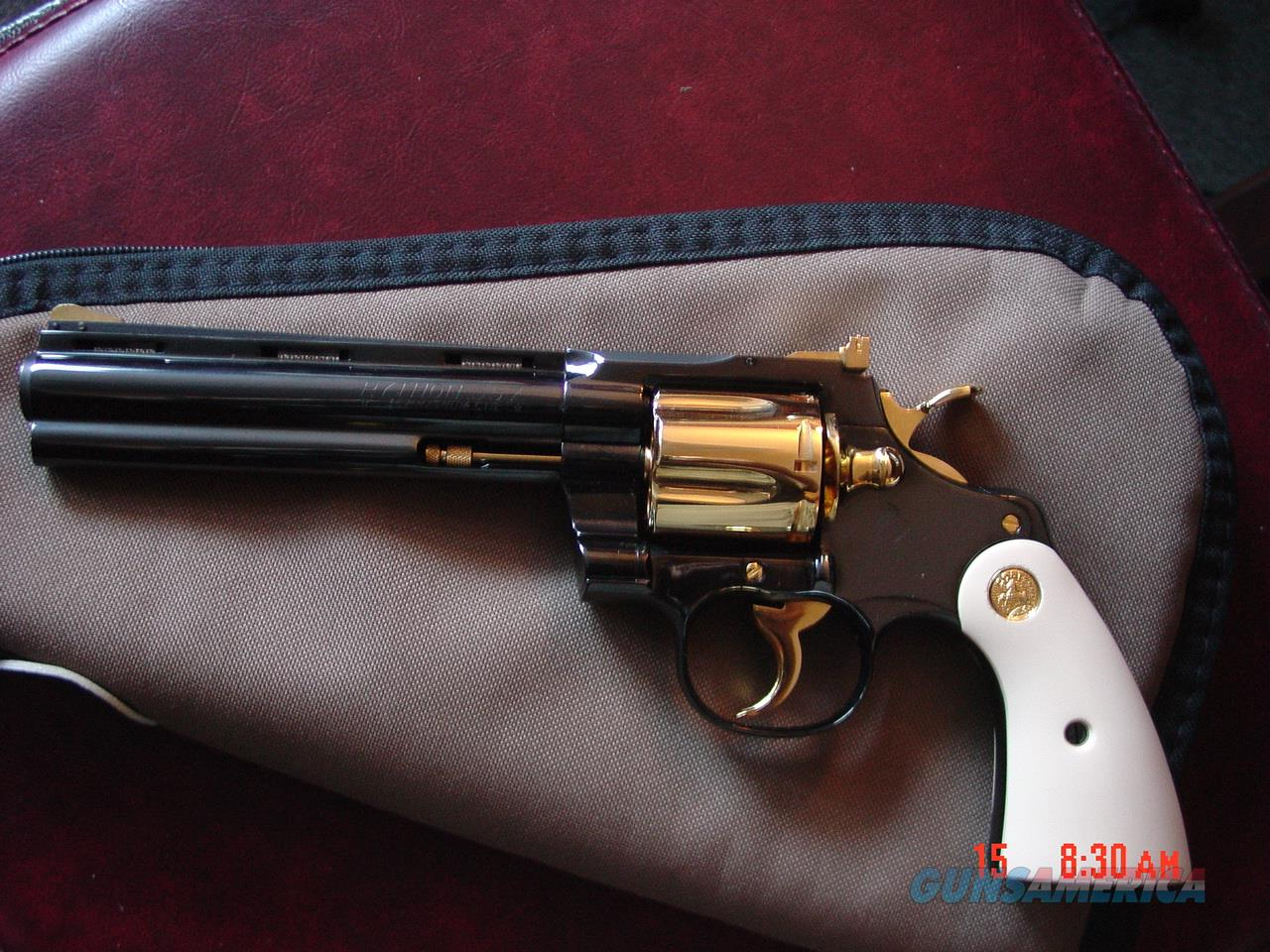 "Colt Python 6"" just refinished in bright blue with 24K gold accents,bonded ivory grips,awesome 1 of a kind showpiece !!  Guns > Pistols > Colt Double Action Revolvers- Modern"