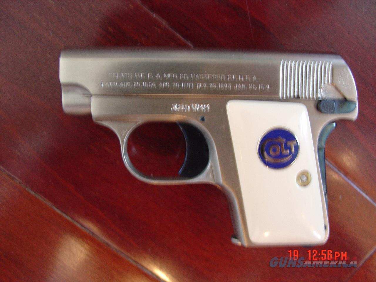Colt 1908,25 cal.Vest pocket,hammerless,fully refinished in satin brushed nickel with blue accents,bonded ivory grips,,& made in 1915 !! looks better than new !!awesome pocket pistol !!  Guns > Pistols > Colt Automatic Pistols (.25, .32, & .380 cal)