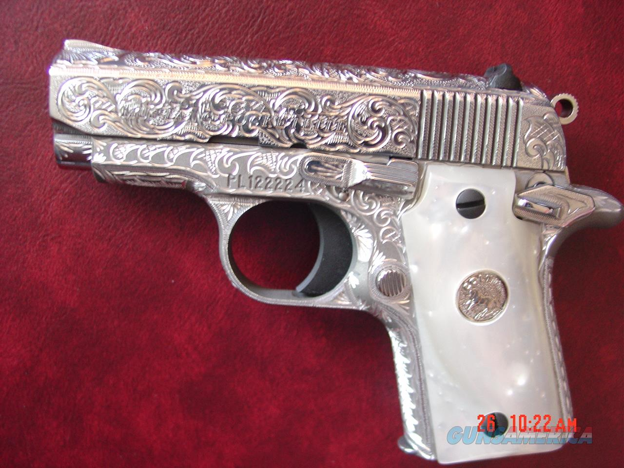 Colt Mustang Pocketlite 380,full deep hand engraved & polished by Flannery Engraving,Pearlite grips,never fired,awesome work of art,& nicer in person !!  Guns > Pistols > Colt Automatic Pistols (.25, .32, & .380 cal)