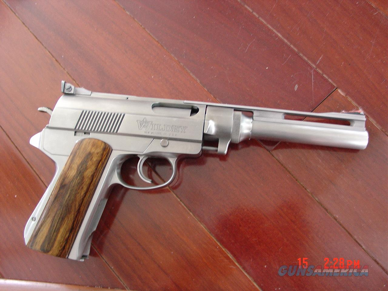 "Wildey Survivor 8"" vented rib hand cannon 45 Win Magnum,2 magazines,wood grips,gas operated,adjustable rear site,hard to find now. awesome power  Guns > Pistols > Wildey Pistols"