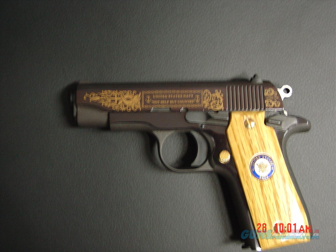 Colt Government model 380,United States Navy commemorative,mini 1911 style,MKIV Series 80,engraved slide in high gloss blue & gold,wood grips,awesome pocket pistol,box & manual.  Guns > Pistols > Colt Automatic Pistols (.25, .32, & .380 cal)