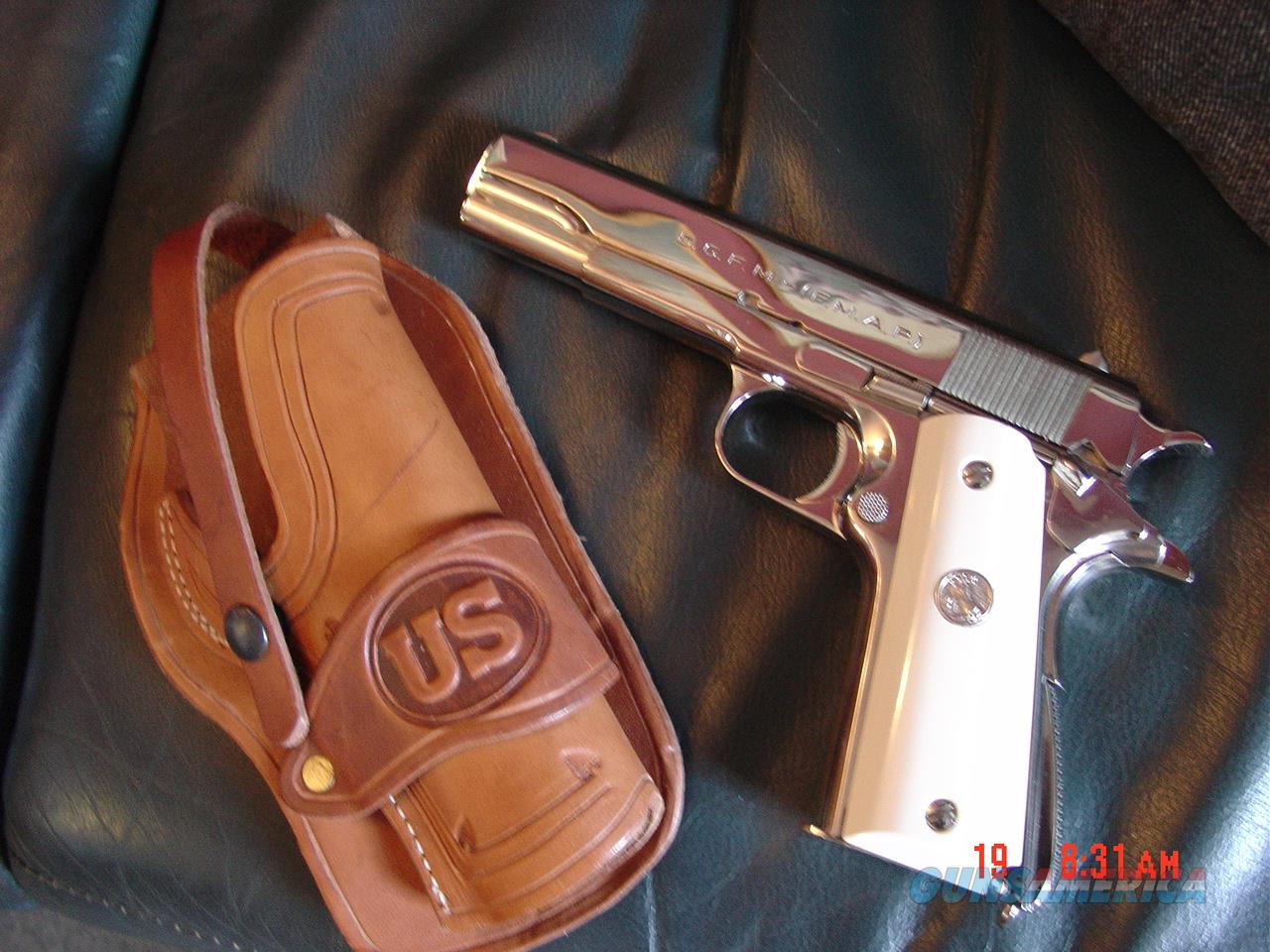 Colt Argentine Army,D.G.F.M.under license by Colt, & its the model 1927,fully refinished nickel,real Water Buffalo bone grips,carved holster,made around 1950,Lanyard loop,Colt 45 magazine-a real showpiece !!  Guns > Pistols > Colt Automatic Pistols (1911 & Var)