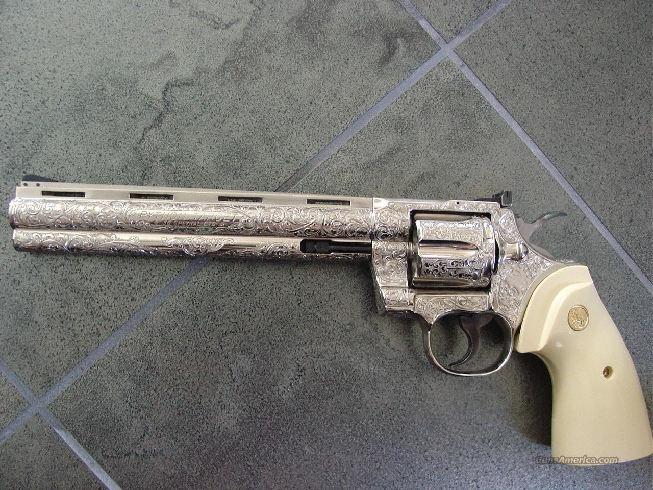 "Colt Python Target-Rare 8"",38spl,nickel,100%master engraved by Denice Therion,faux ivory grips,one of a kind masterpiece-  Guns > Pistols > Colt Double Action Revolvers- Modern"