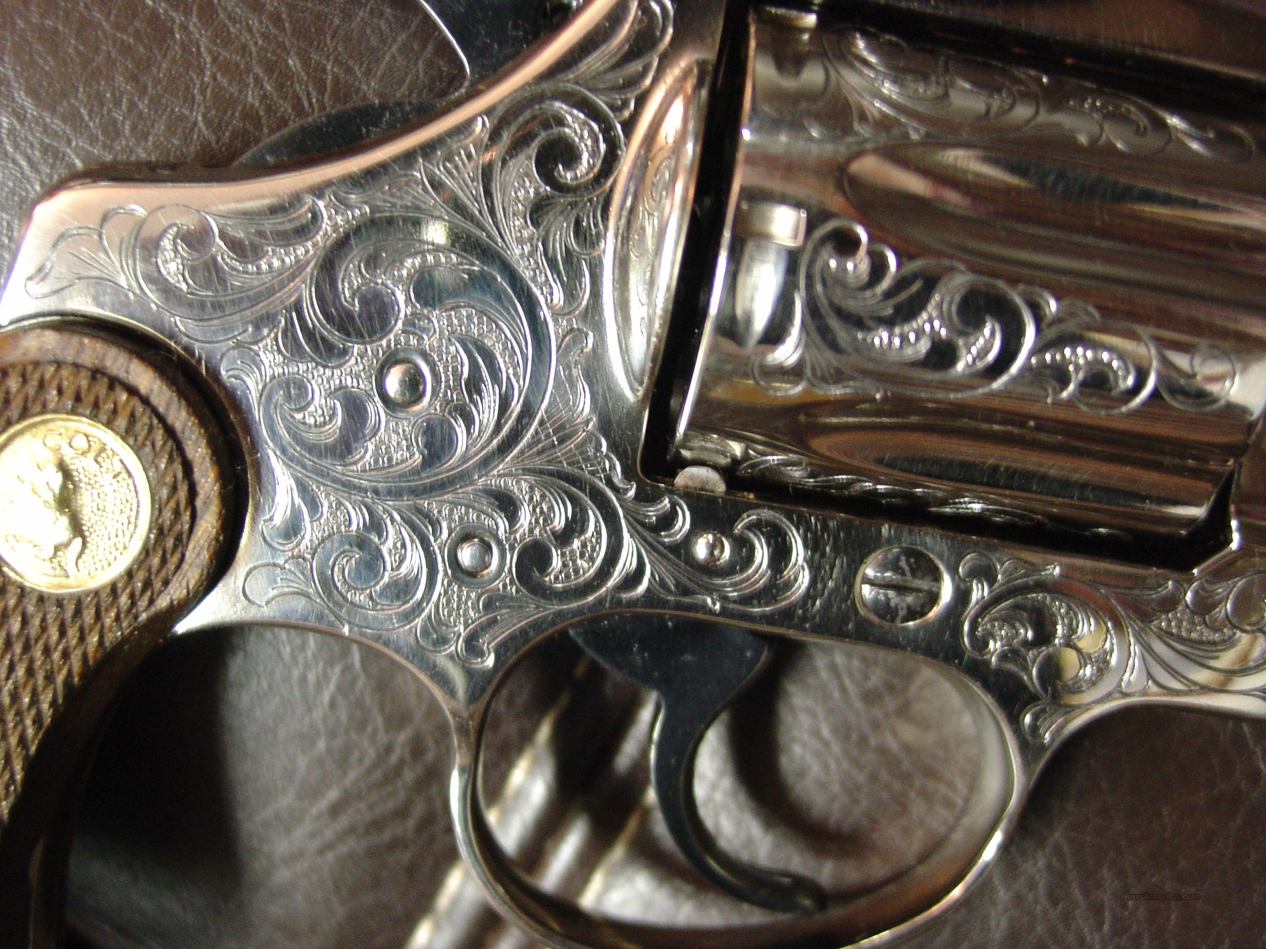 "Colt Diamondback 2 1/2"" 1967 !! nickel,master engraved by Santiago Leis,38special,wood grips,certificate- 1 of a kind !!  Guns > Pistols > Colt Double Action Revolvers- Modern"
