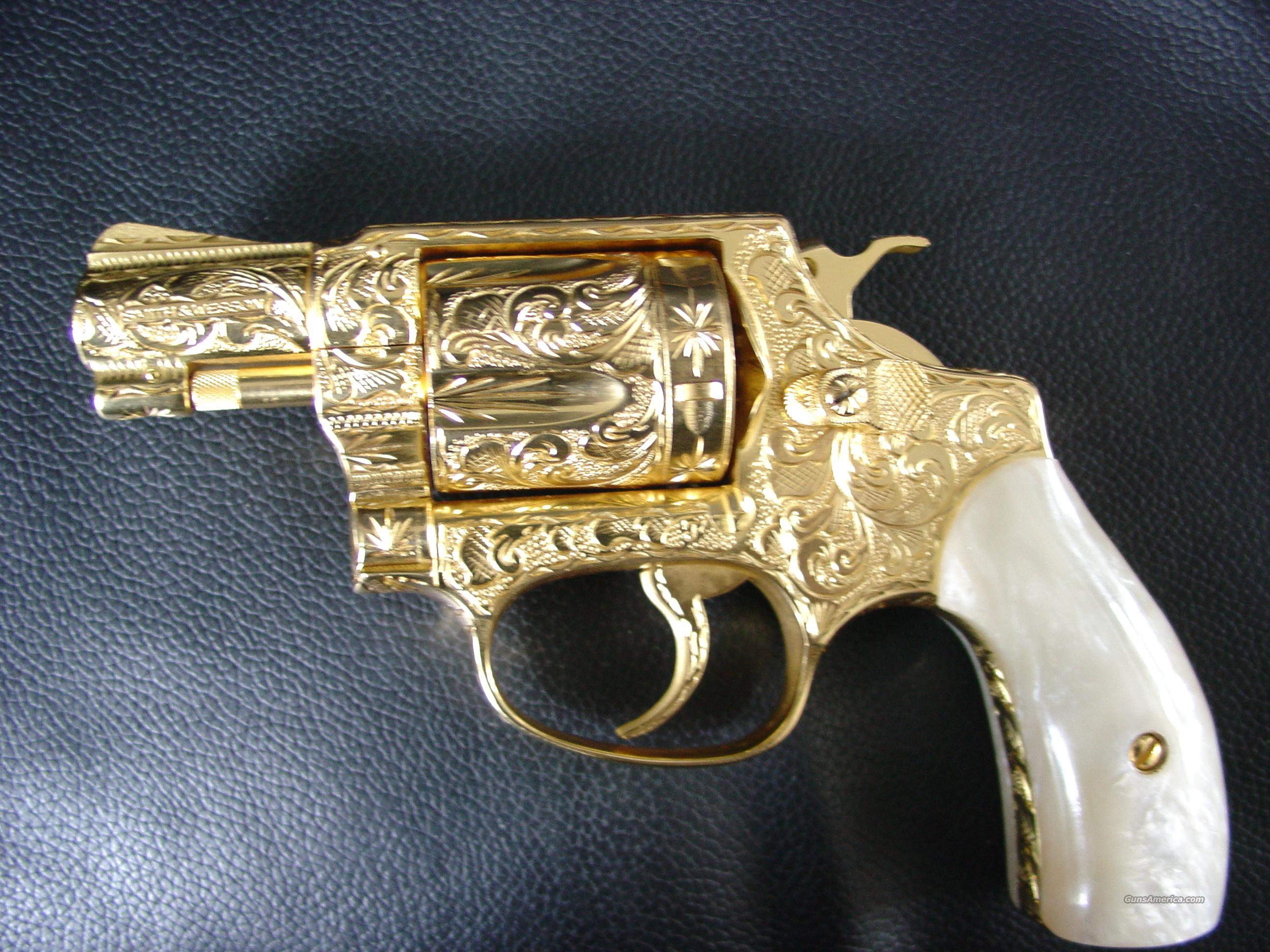 "Smith & Wesson Model 36,no dash,1962-64,24k gold plated,& 100% fully engraved,3 screw,1.53""pinned barrel,pearlite grips,Chiefs Special,38 special,awesome-period !!  Guns > Pistols > Smith & Wesson Revolvers > Pocket Pistols"