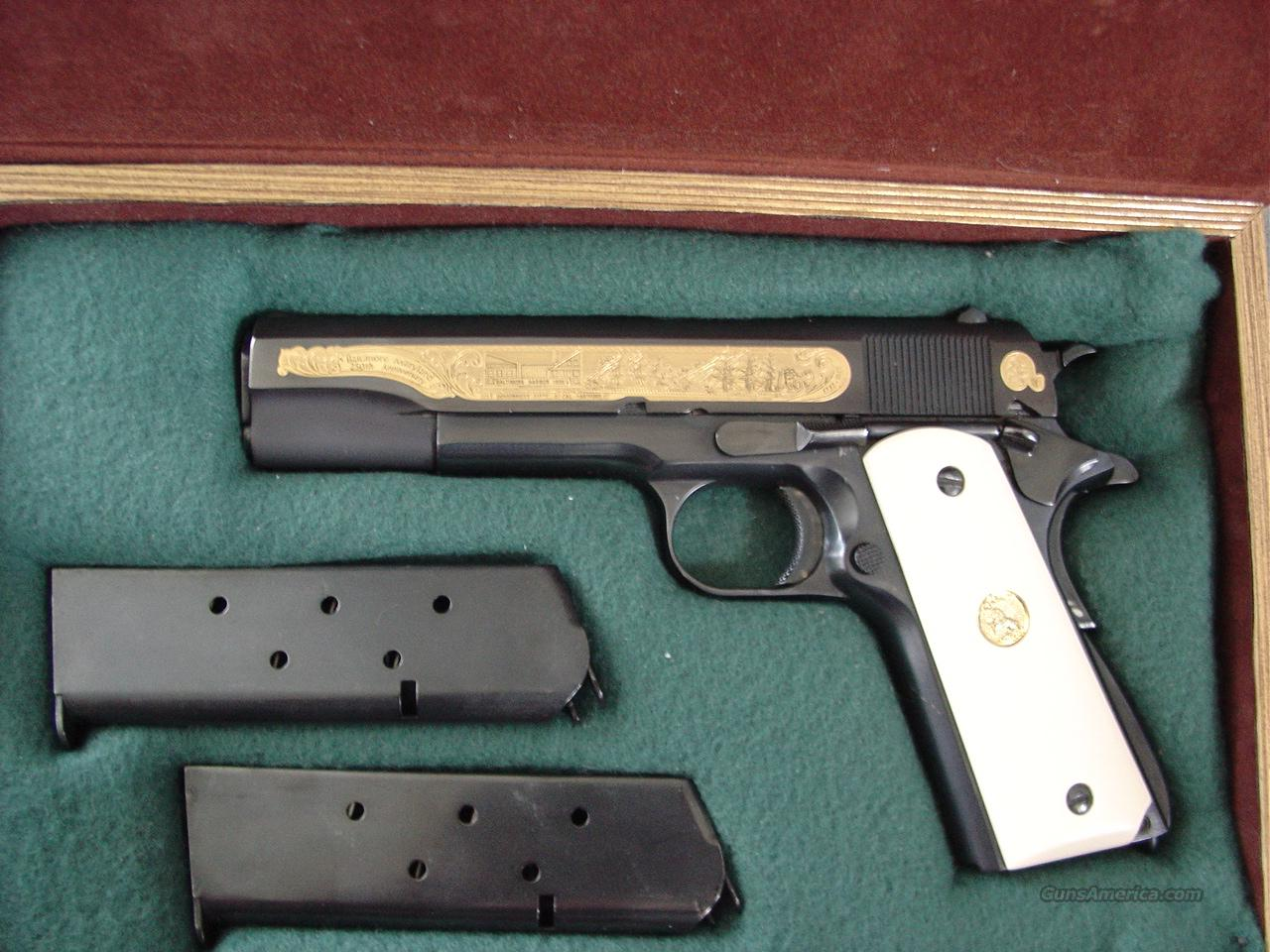 Colt 1911 Government 45acp,Baltimore Maryland 250th Anniversary commemorative,gold engraved with ships,etc,faux ivory grips & beautiful fitted pres case,that is in the shape of an antique book !! made in 1982  Guns > Pistols > Colt Commemorative Pistols