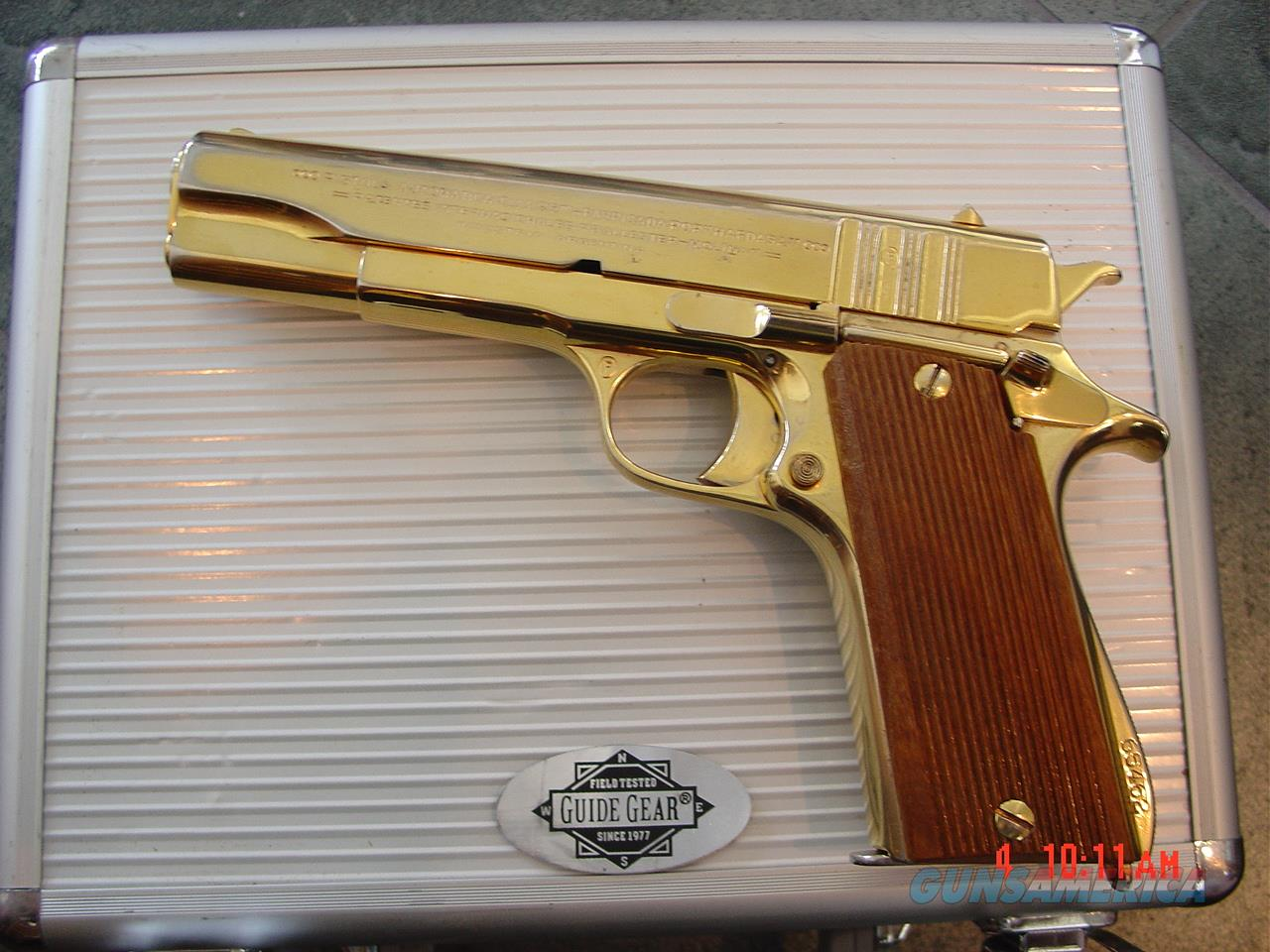 Argentine Army,model 1927,Ballester Molina,24k plated,lanyard loop,wood grips,custom case,made around 1950,awesome showpiece !!  Guns > Pistols > Colt Automatic Pistols (1911 & Var)