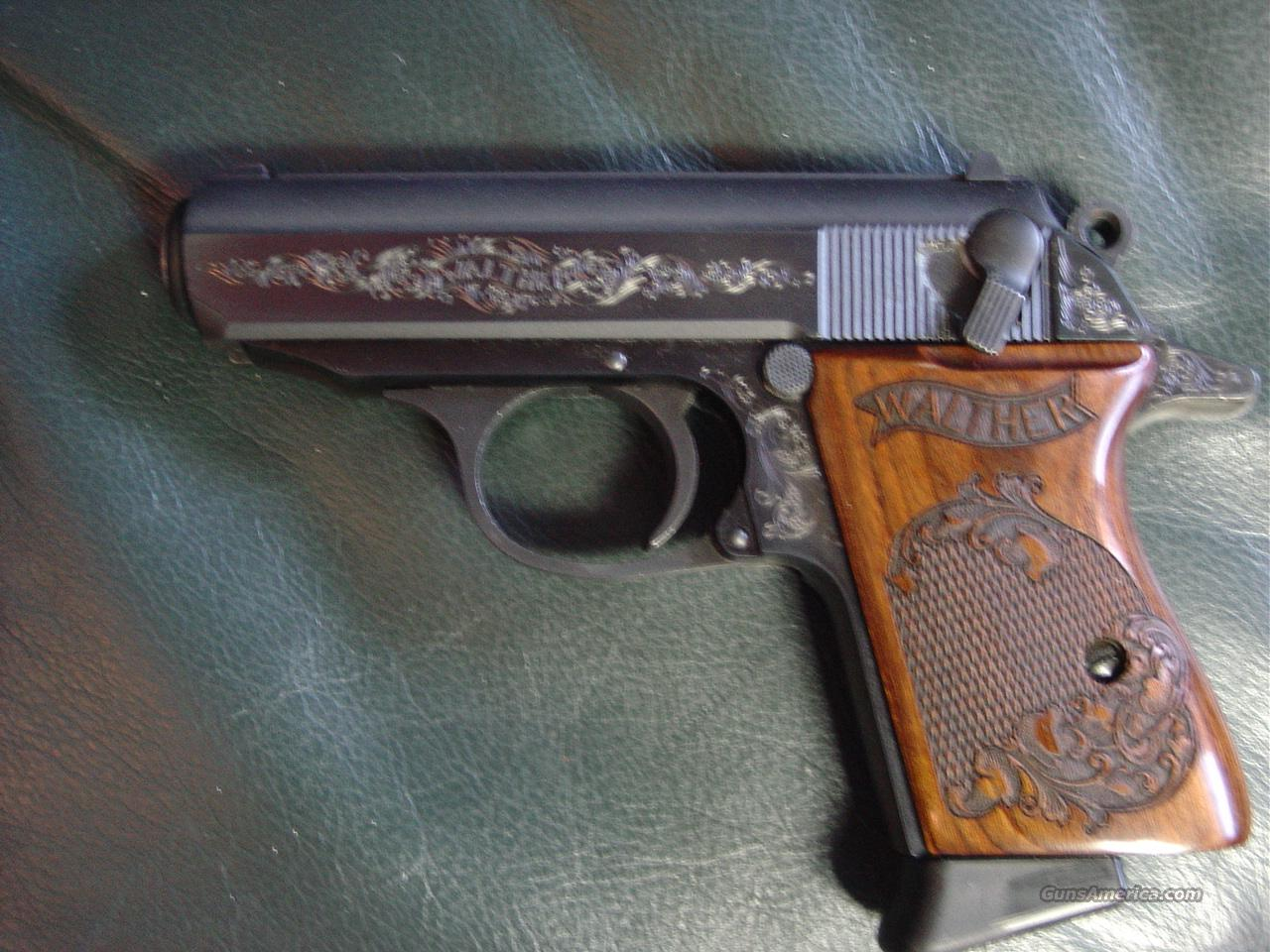 Walther PPK,380 auto,factory engraved,Ltd Edition,blue,beautiful Laser engraved grips,2 mags,manual,serial #'d box,very nice showpiece & shooter-looks new !!  Guns > Pistols > Walther Pistols > Post WWII > PPK Series