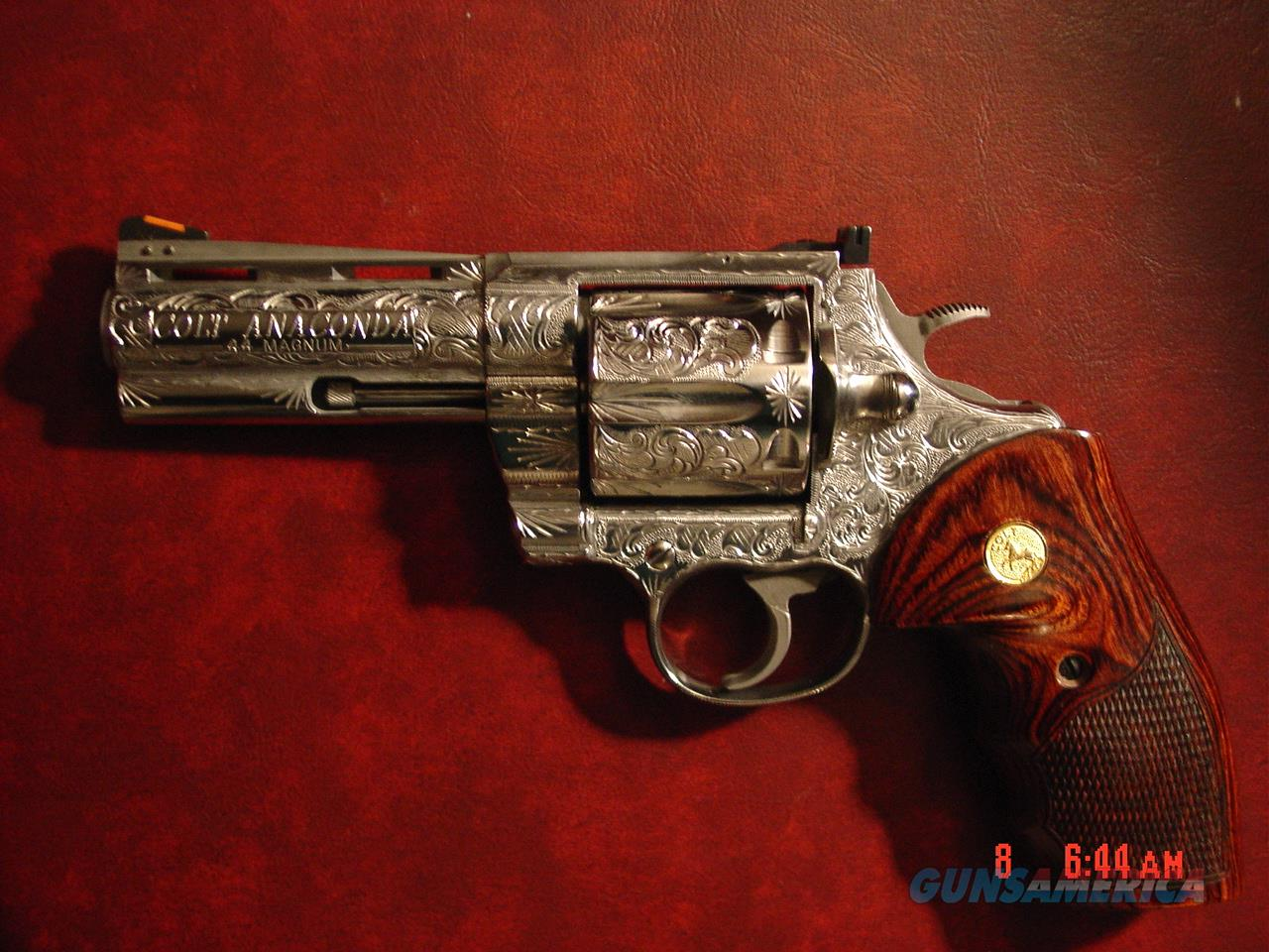 """Colt Anaconda 4"""" engraved & polished by Flannery Engraving,Rosewood grips,44 magnum,bob & manual etc, way nicer in person, a work of art !!  Guns > Pistols > Colt Double Action Revolvers- Modern"""