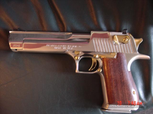 "Desert Eagle -Magnum Research,50 AE,6"",wood grips,polished nickel,gold accents,box,manual,MKXIX model  Guns > Pistols > Magnum Research Pistols"
