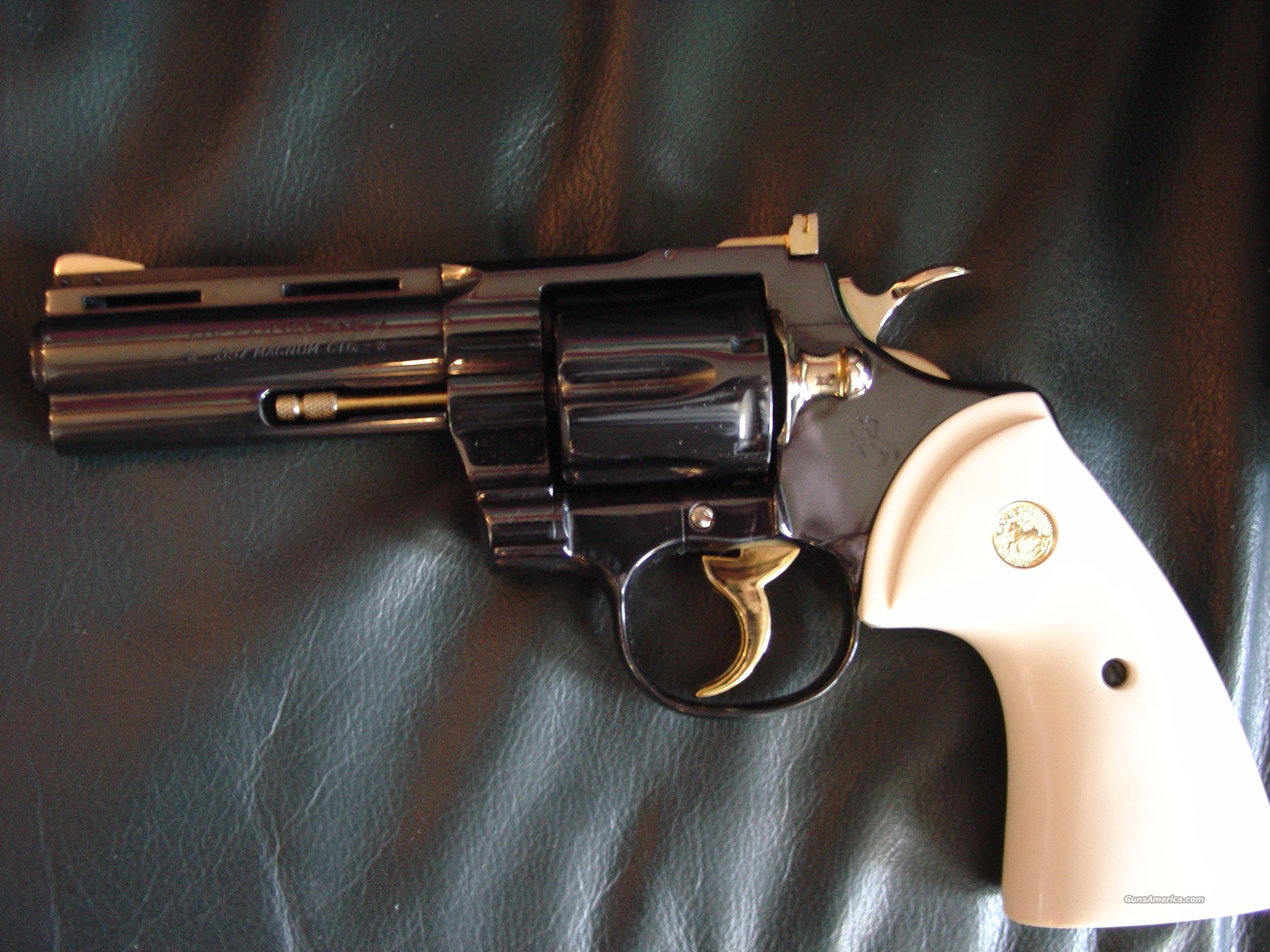 "Colt Python 4"" barrel,fully restored in bright mirror blue,with 24k accents,357 magnum,1964 !! 49 years old & looks like new- awesome showpiece !!  Guns > Pistols > Colt Double Action Revolvers- Modern"