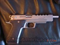 "Laser Aim Arms 6"" barrel,ported,with 5 slots,45acp,stainless,2 mags & soft case,& manual  LaserAim Pistols"