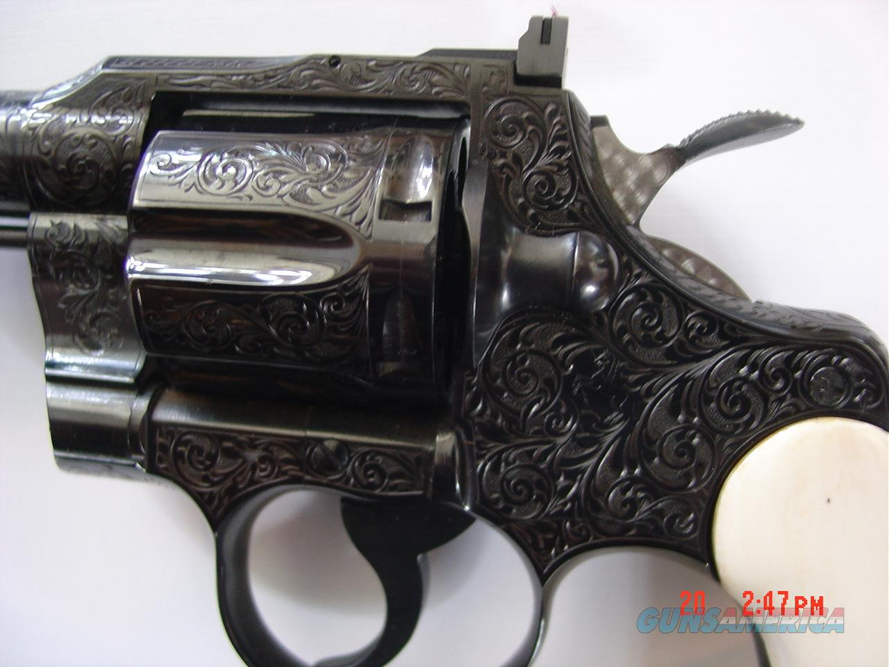 """Colt Trooper,1967,4""""deep master hand engraved by G.Sherwood,real ivory grips,refinished,357 mag,awesome work of art !! 1 of a kind !!  Guns > Pistols > Colt Double Action Revolvers- Modern"""