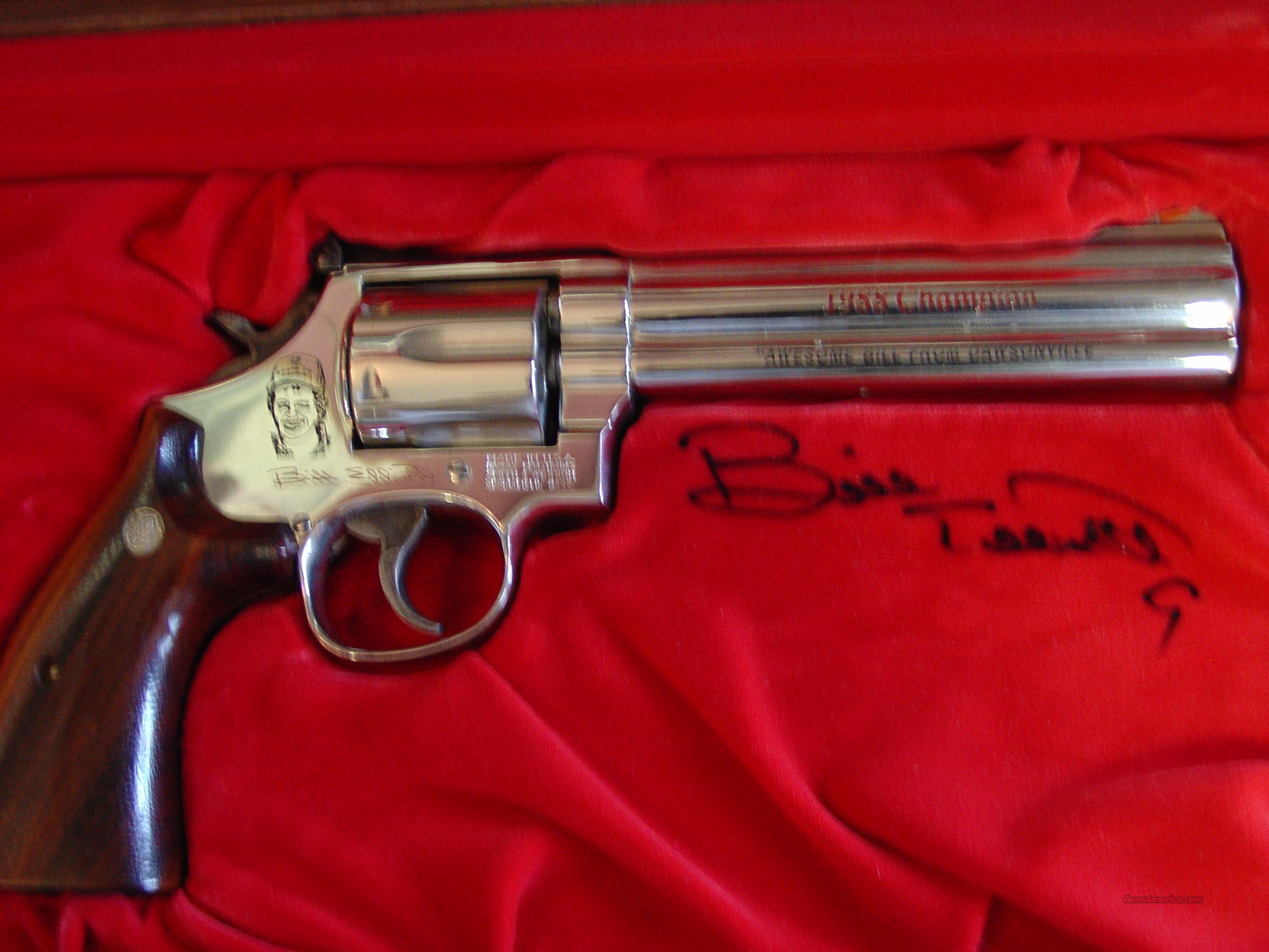 "Smith & Wesson 586-3,357 magnum,Bill Elliott commemorative,6"" engraved,polished bright nickel,wood & glass presentation case  Guns > Pistols > Smith & Wesson Revolvers > Full Frame Revolver"