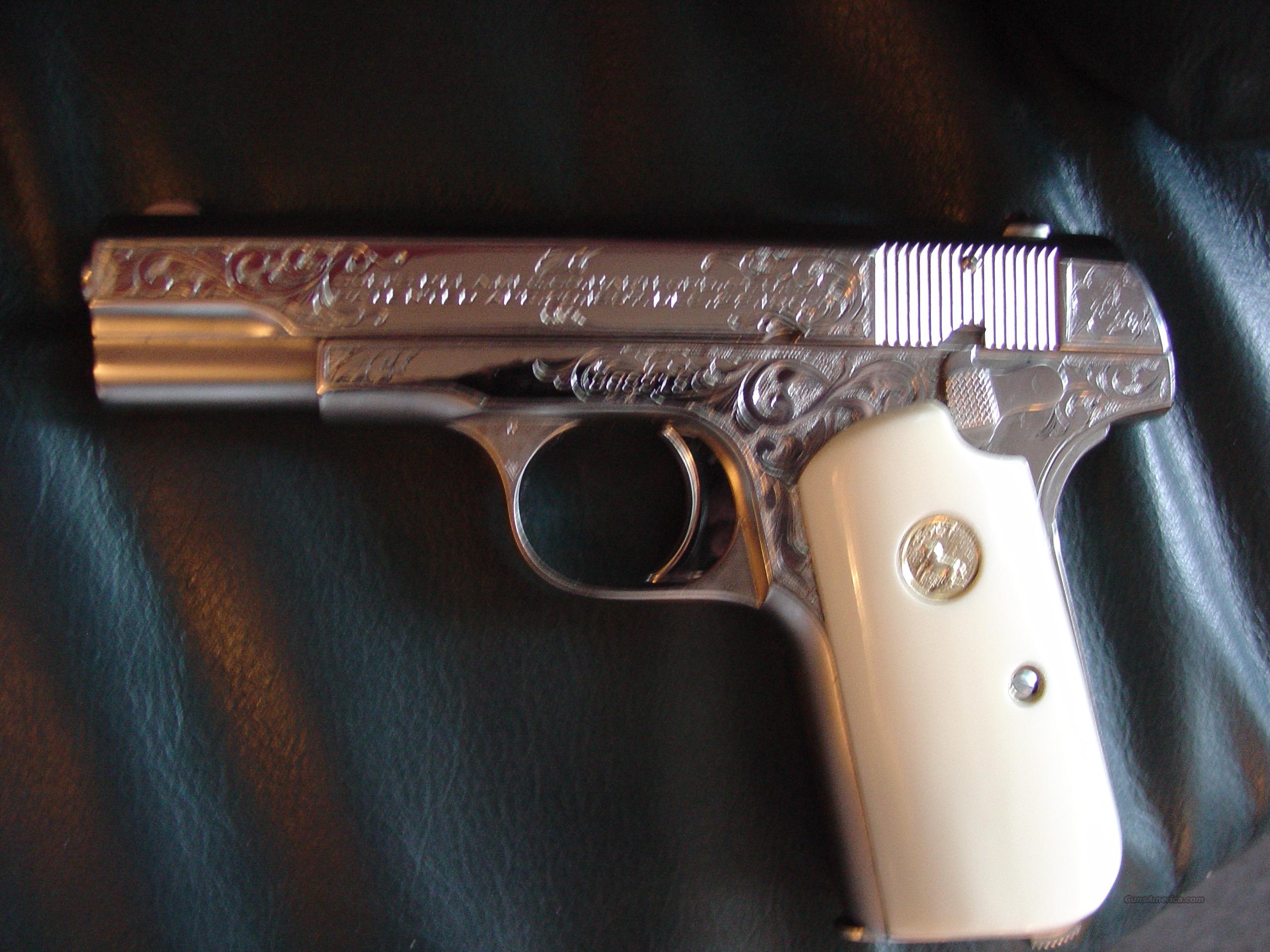 Colt 1903 Hammerless,made in 1920,refinished in bright nickel,Master Scroll engraved with certificate,bonded ivory grips,32 cal-way nicer in person !!  Guns > Pistols > Colt Automatic Pistols (.25, .32, & .380 cal)