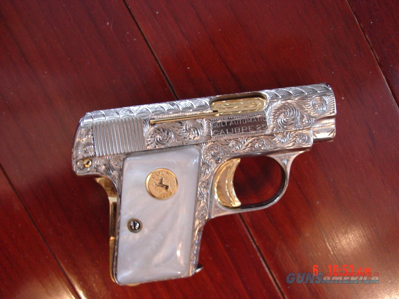 Colt 1908 Vest Pocket,fully refinished in bright nickel with gold accents & fully engraved by Flannery Engraving,25 cal,made in 1922-a true masterpiece work of art !!  Guns > Pistols > Colt Automatic Pistols (.25, .32, & .380 cal)