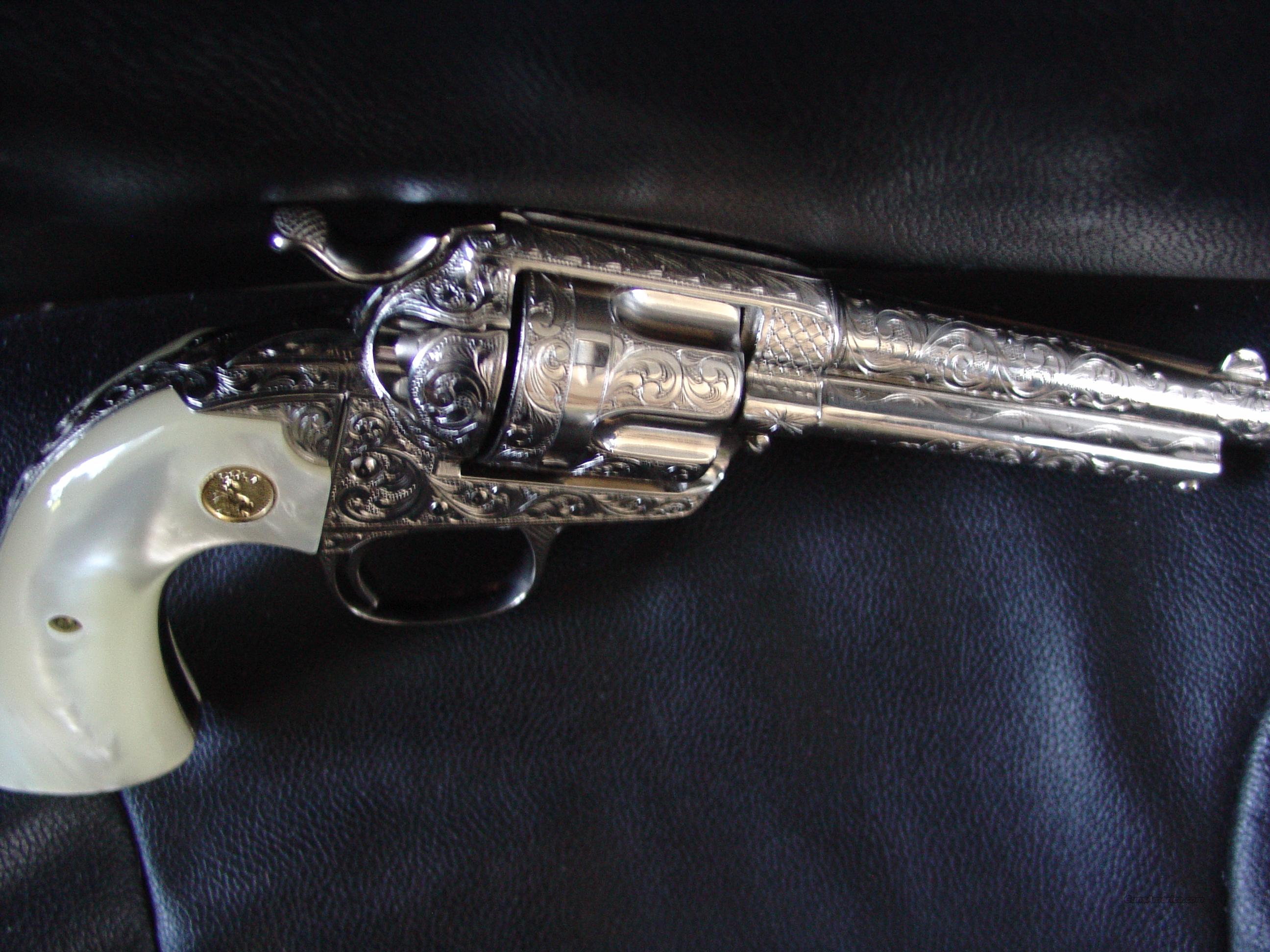 "Colt Bisley-1904 ! 32WFC,5 1/2"",fully 100% restored,high gloss nickel refinished,deep releif master hand engraved by S.Leis with certificate,vintage Jay Scott faux mother of pearl grips-awesome one of a kind work of art !!  Guns > Pistols > Colt Single Action Revolvers - 1st Gen."