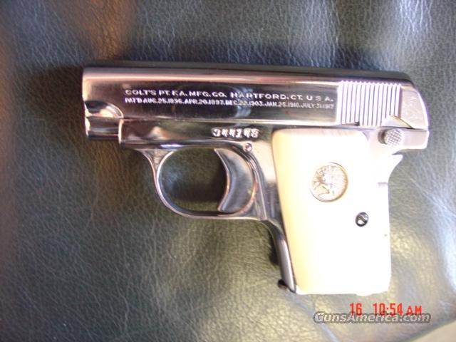 Colt Model 1908,nickel,25 ACP,semi auto,made in 1925,so its 87 years old,real ivory grips  Guns > Pistols > Colt Automatic Pistols (.25, .32, & .380 cal)