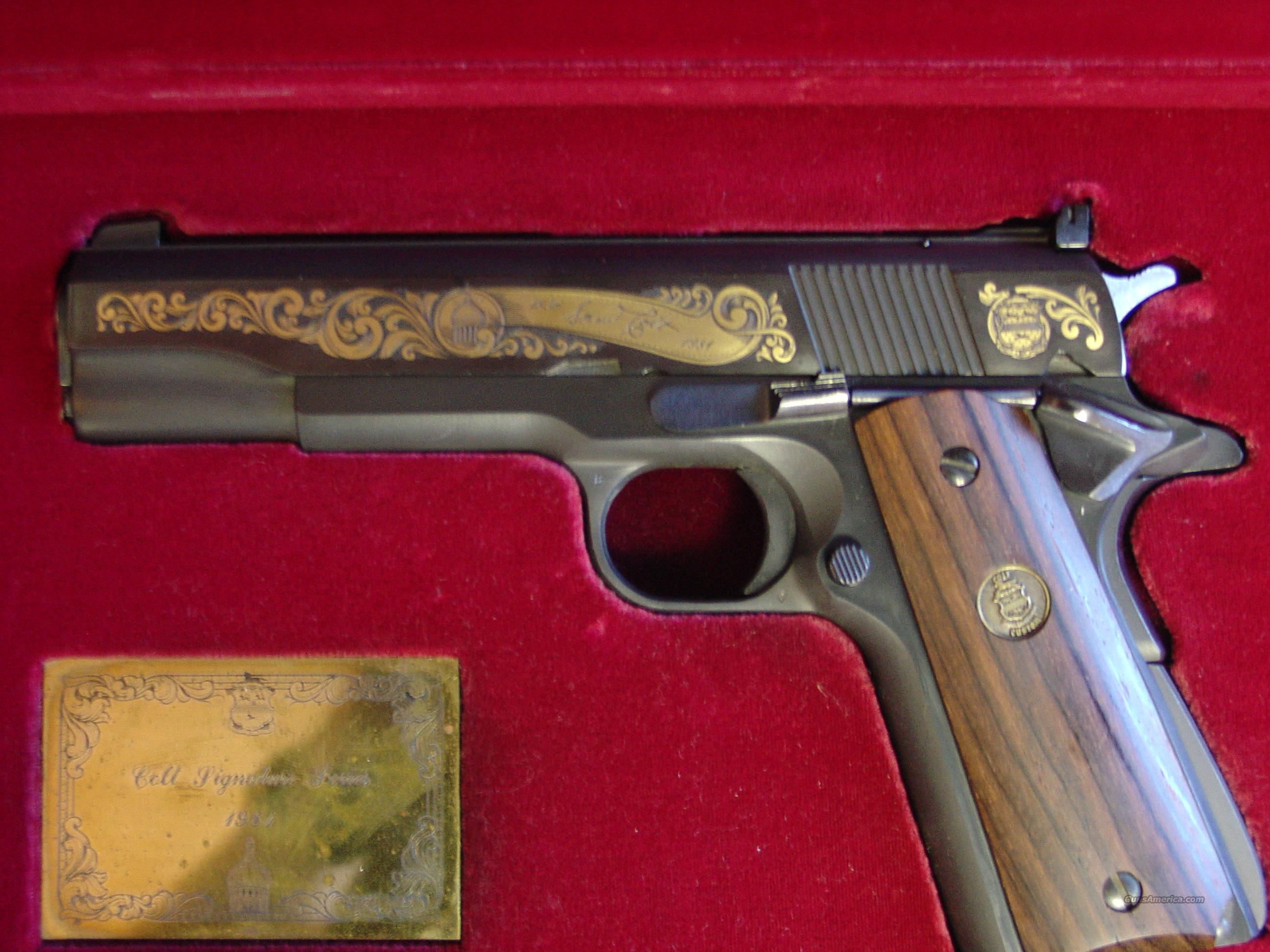 Colt 1911 ACE,22LR,Signature Series,full size,all steel,24K gold engraved,made in 1981,custom grips,& custom fitted wood presentation case,unfired  Guns > Pistols > Colt Automatic Pistols (22 Cal.)