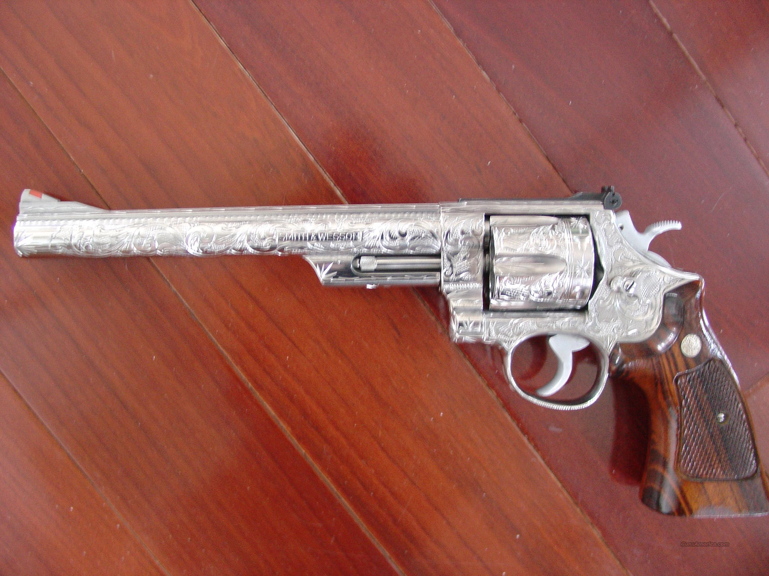 "Smith & Wesson model 629-1,8 3/8"" barrel,polished nickel & fully master hand scroll engraved,1982-1985,44 magnum,awesome 1 of a kind showpiece !!  Guns > Pistols > Smith & Wesson Revolvers > Model 629"