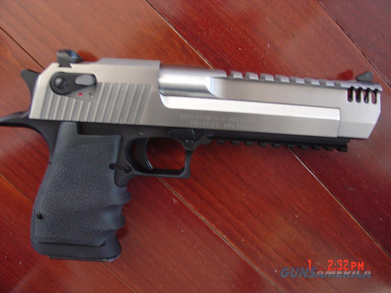 Magnum Research Desert Eagle 50AE,2 tone stainless with built in Compensator ,the latest just out !!a rare Hand Cannon,that looks awesome also !!   Guns > Pistols > Desert Eagle/IMI Pistols > Desert Eagle