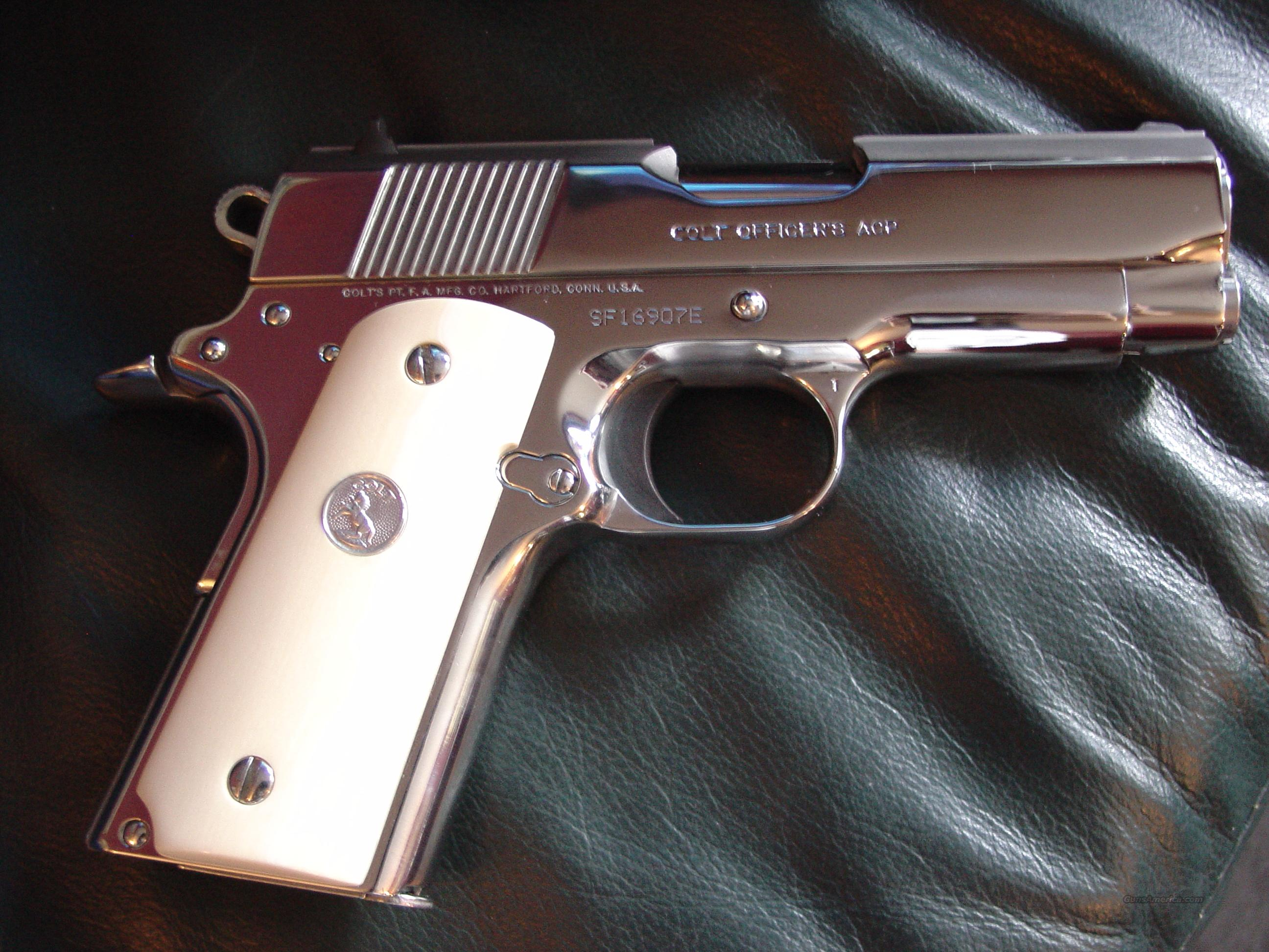 "Colt Officers ACP,45acp,3 1/2"" bright ultimate polished stainless,real Ivory grips,2 magazines,& box-gorgeous-period !!  Guns > Pistols > Colt Automatic Pistols (1911 & Var)"