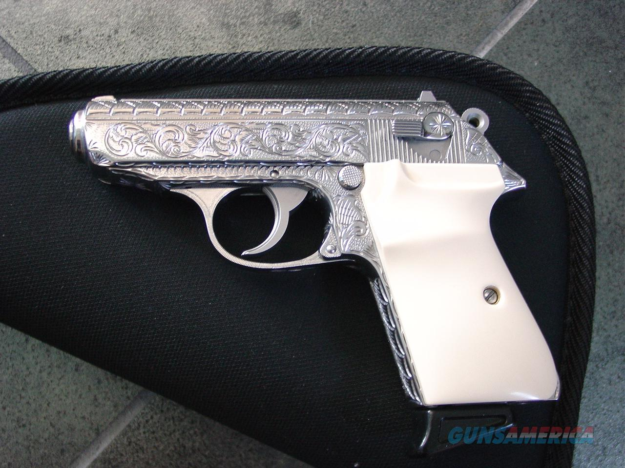 Walther PPK/S-Interarms,fully engraved by Flannery Engraving in scroll & batwing designs,polished stainless,380 auto,1 Walther mag with finger extension,faux ivory grips,-awesome one of a kind !!  Guns > Pistols > Walther Pistols > Post WWII > PPK Series