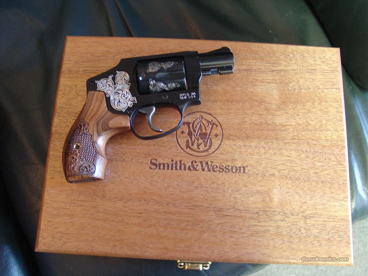 """Smith & Wesson Model 442,Limited Engraved edition,38 special +P,1.875"""" barrel,5 shots,wood pres.case,S&W carry case all papers,lock,test round,NIB,made in 2014 !!  Guns > Pistols > Smith & Wesson Revolvers > Pocket Pistols"""