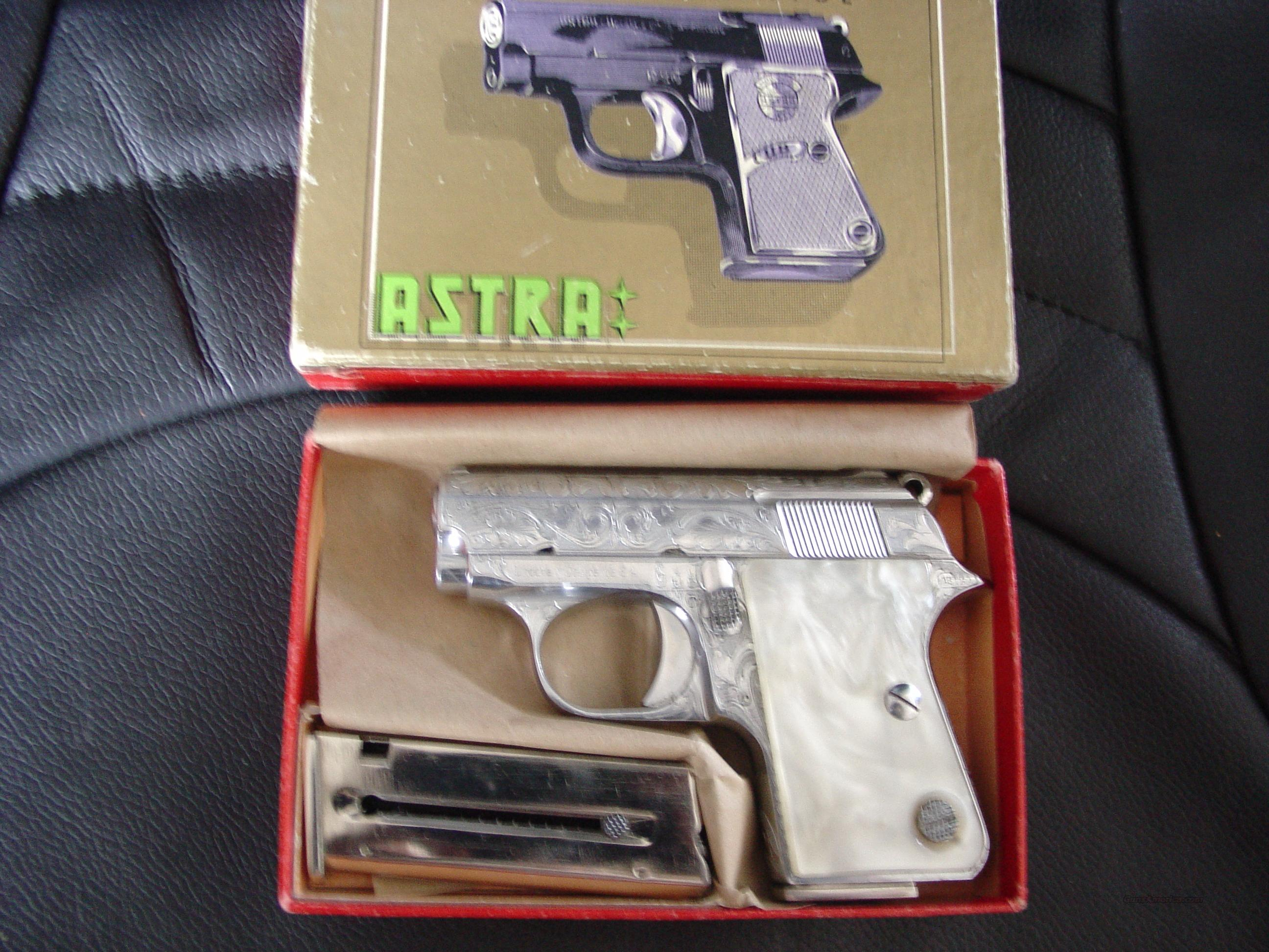 "Astra Cub Model 2002,22 short,2 1/4""barrel,chrome,factory engraved,1963,box,sleeve & manual,2 mags,close to new !! faux pearl grips-super nice  Guns > Pistols > Astra Pistols"