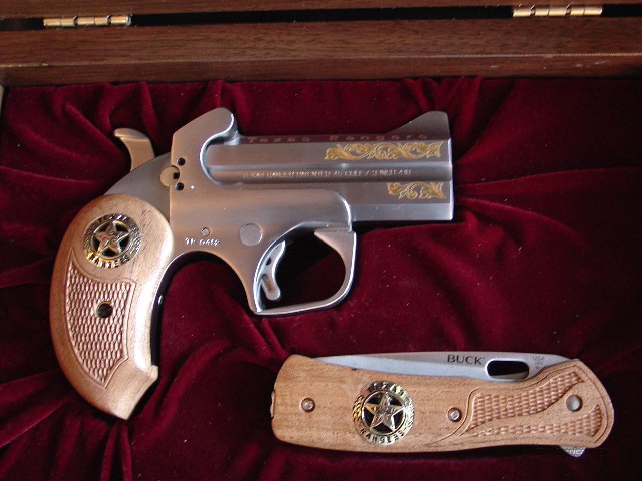 "Bond Arms- Rare Texas Rangers 200 year Commemorative,gold scroll engraved,wood grips with stars,matching wood Buck knife,& nice fitted wood & glass etched,locking presentation case 3 1/2"", 3""410 & 45LC  Guns > Pistols > Bond Derringers"
