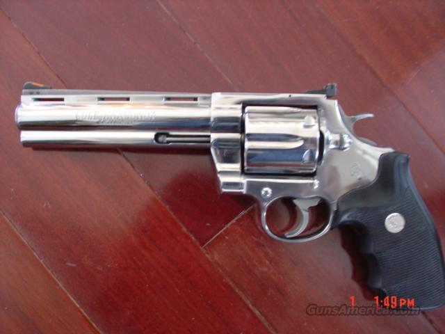 "Colt Anaconda-6""- high polished mirror finish stainless,44 magnum,in box with manual  Guns > Pistols > Colt Double Action Revolvers- Modern"