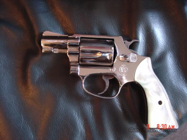 "Smith & Wesson Model 36-J frame-1962,38Special,nickel,pearl grips,1 7/8"" barrel  Guns > Pistols > Smith & Wesson Revolvers > Pocket Pistols"