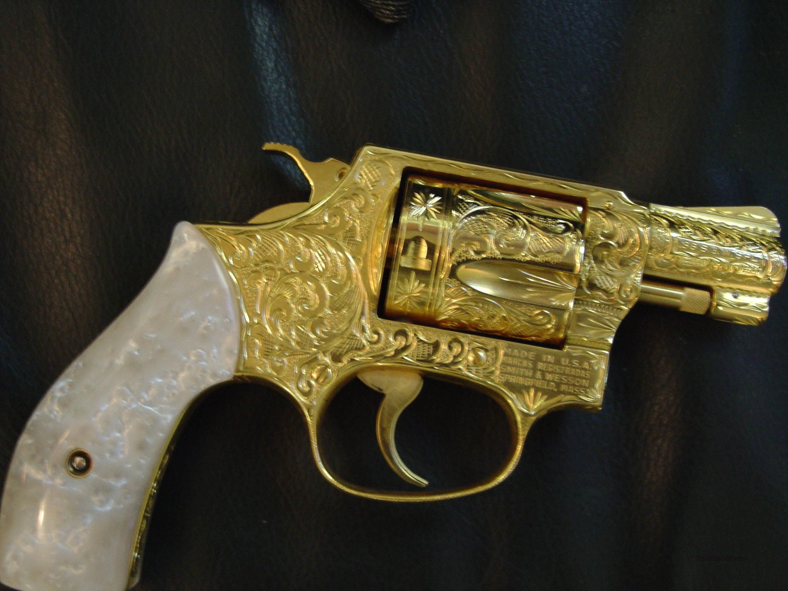 "Smith & Wessom model 36 -no dash,Master engraved by Flannery,24K gold plated,pearlite grips,38 Sp.,1 3/4"" barrel,Chiefs Special-1 of a kind showpiece-awesome !!  Guns > Pistols > Smith & Wesson Revolvers > Pocket Pistols"