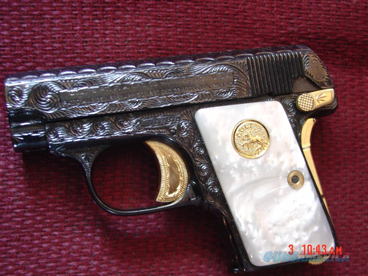 Colt 1908,25 cal,fully engraved by Flannery engraving,in March 2016,blue with 24K accents,Pearlite grips,made in 1915 !!Vest Pocket, awesome showpiece,1 of a kind !!  Guns > Pistols > Colt Automatic Pistols (.25, .32, & .380 cal)